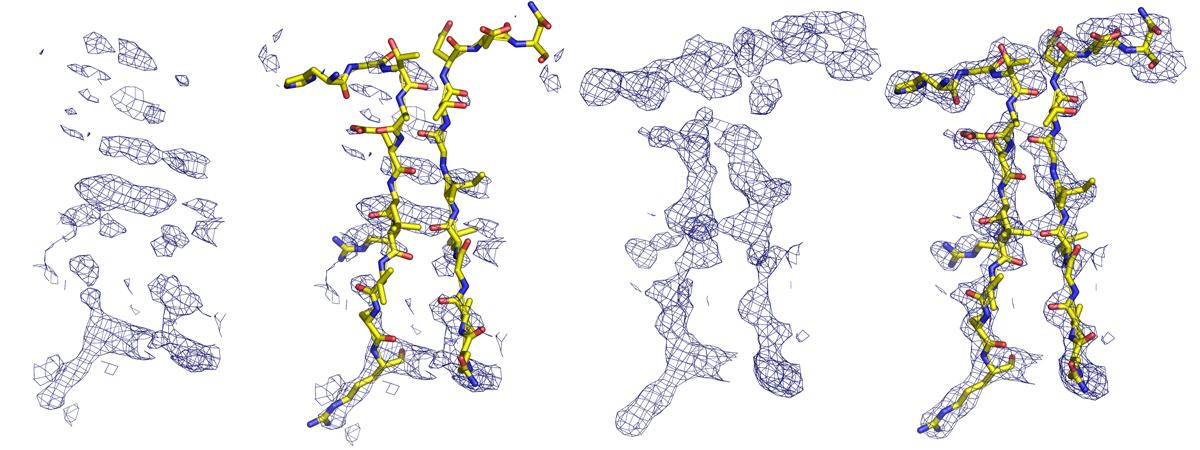 Links: Wenig Informationen, niedrige Auflösung oder qualitativ schlecht im Bereich der hogen Auflösung (7-3A). Rechts: Gutre Qualität der hohen Auflösungsdaten, mit Hilfe des umgebenden Modells zusätzlich Phasierungshilfe durch molekularen Ersatz.